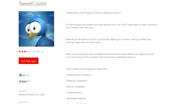 TweetCaster for Window Phone 7 from Windows Phone Marketplace