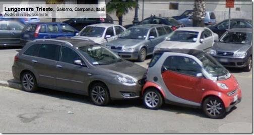 smartcar getting smooched by a hatchback