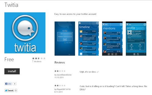 Twitia for Windows Phone