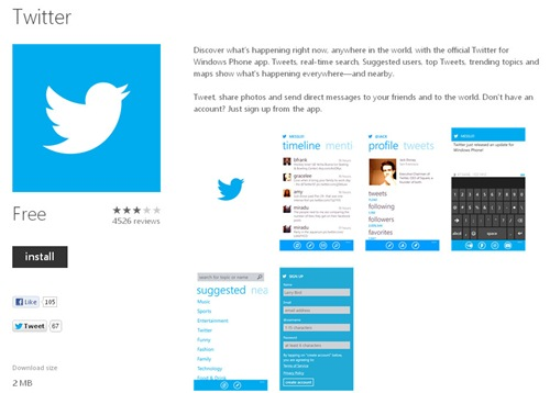 Twitter Official For WIndow Phone