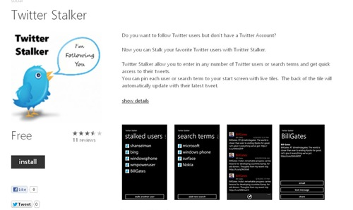 Twitter Stalker for Windows Phone