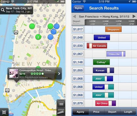 Hipmunk flight and hotel search for iPhone 5
