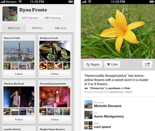 Pinterest for iPhone 5