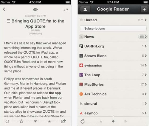 Reeder for iphone 5