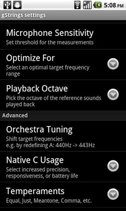 Tuner - gStrings for android