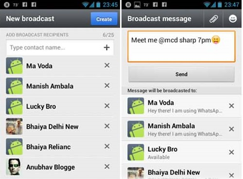 Broadcast a Whastapp Message to many contacts