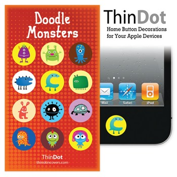 Doodle Monster Home button sticker for iPhone