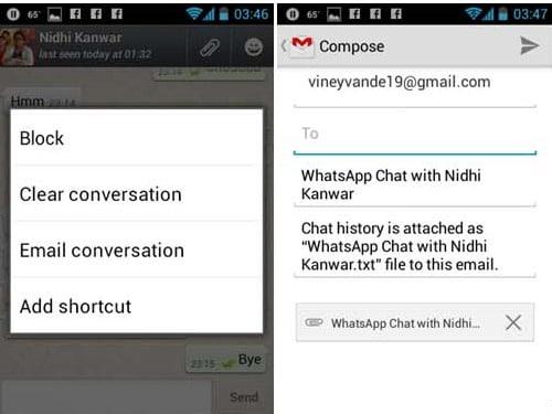 Send WhatsApp conversation history to someone
