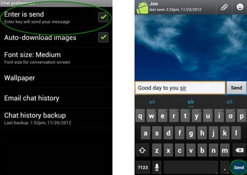 Use the Enter key to send WhatsApp messages