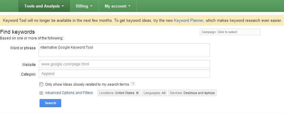 Alternative Google Keyword Tool