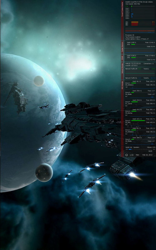 ForceX System Monitor for Rainmeter