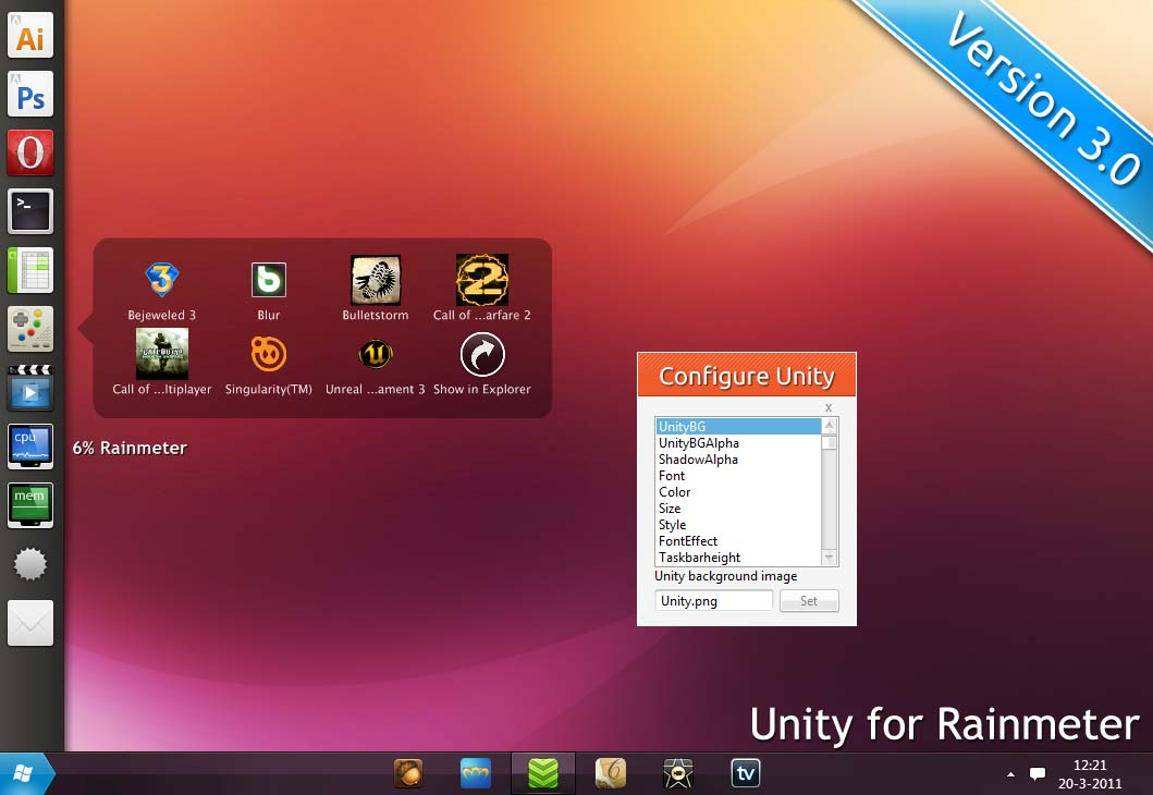 Unity for Rainmeter 3.0