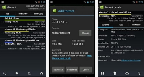 tTorrent for android