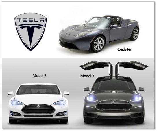 Tesla Model S Model X and Roadster